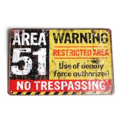 """Blechschild """"Area 51-..."""